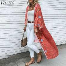 ZANZEA été Cardigan femmes bohème imprimé fleuri Long Kimono décontracté ouvert devant à manches longues plage Blouse Vintage chemise hauts