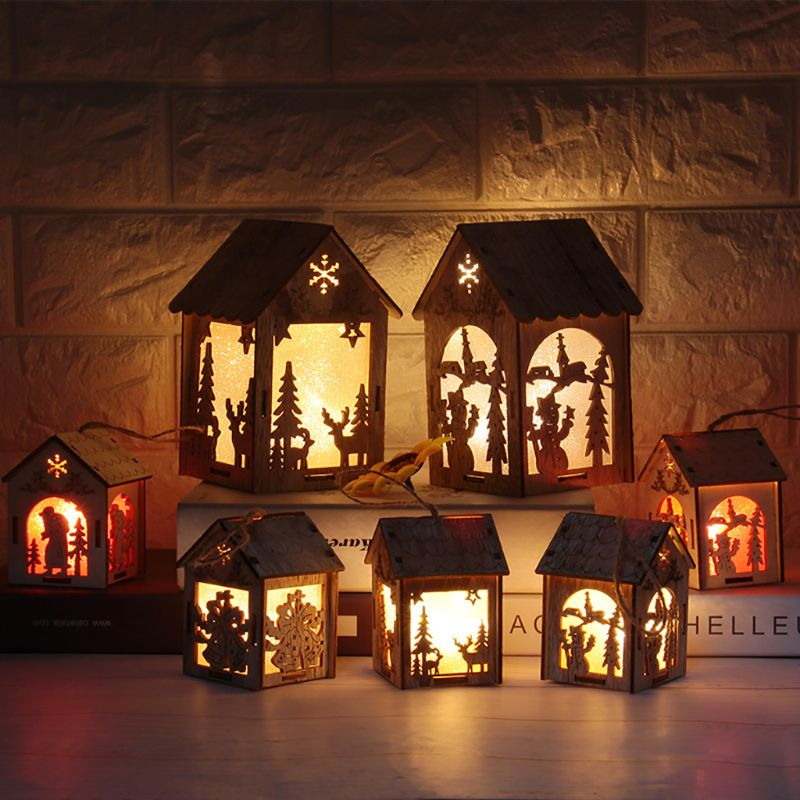 Christmas Tree Hanging LED Light Log Cabin Wood House Decoration Showcase Y98E