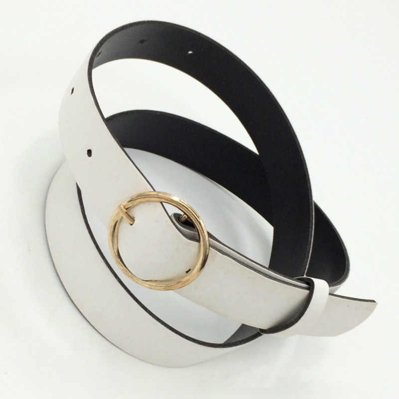 2020 Moda femminile Fibbia Rotonda Cintura In Vita Fibbia In Metallo Casual DELL'UNITÀ di elaborazione Cinghia di Cuoio Abbigliamento Accessori per Le Donne