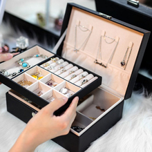 PU Leather Jewelry Display Ring Earrings Rack with lock Packaging Necklace Earrings Double Layer Storage Case