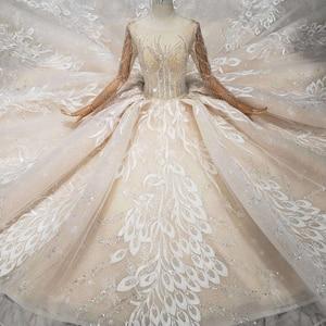 Image 3 - BGW HT566 lüks yeni moda düğün elbisesi ile kraliyet tren el yapımı yüksek kalite uzun tül püskül balo gelinlik 2020