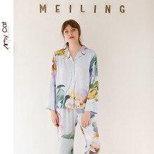 秋 2019 サテン長袖カジュアルパジャマ女性のための海謎ストライプ印刷パジャマビスコースセクシーな睡眠ホーム服