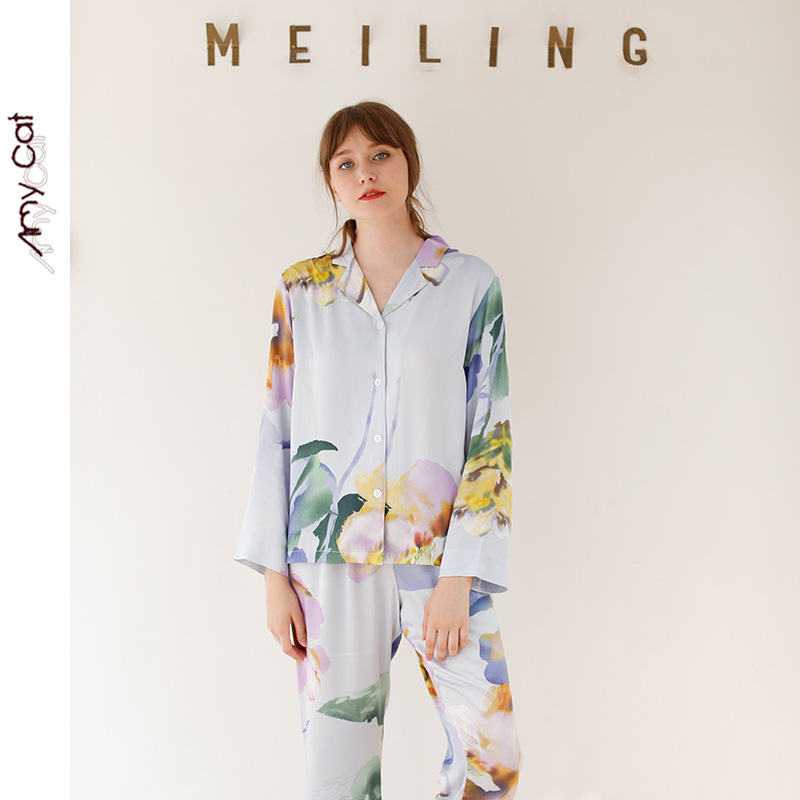 Autumn 2019 Satin Long Sleeve Casual Pajamas For Women Sea Mystery Stripe Printing Sleepwear Viscose Sexy Sleep Home Clothes