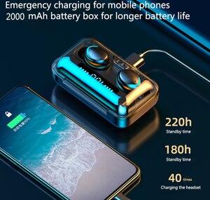 Image 3 - F9 TWS Bluetooth 5.0 scatola di ricarica per auricolari Wireless 9D Stereo sport auricolari impermeabili cuffie per ricarica smartphone