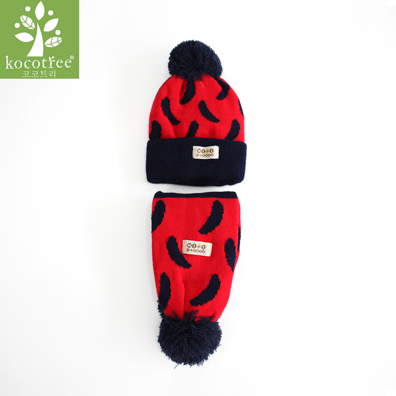 Kocotree Hot Sale 1 To 5 Years Old Boy Girl Winter Warm Children Hat And Scarf Set Kids Big Scarf Baby Pompom Cap Suit