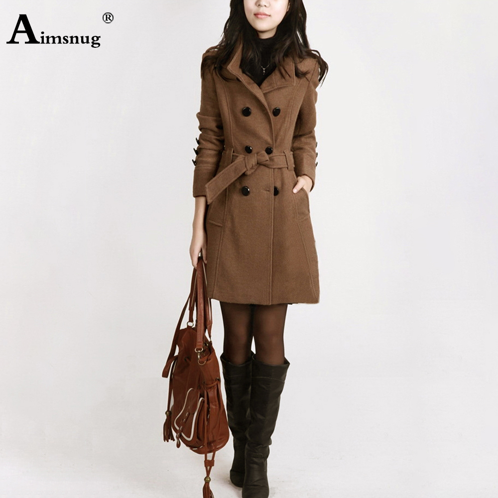 Plus Size 3XL 4XL Female Woolen Coat Autumn and Winter Pocket Waistband Slim And Women Outwear Windbreaker