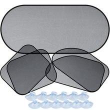 5 pçs conjunto de malha net pára-brisa do carro verão janela lateral sun sombra prata cor cinza para acessórios interiores viagem carro
