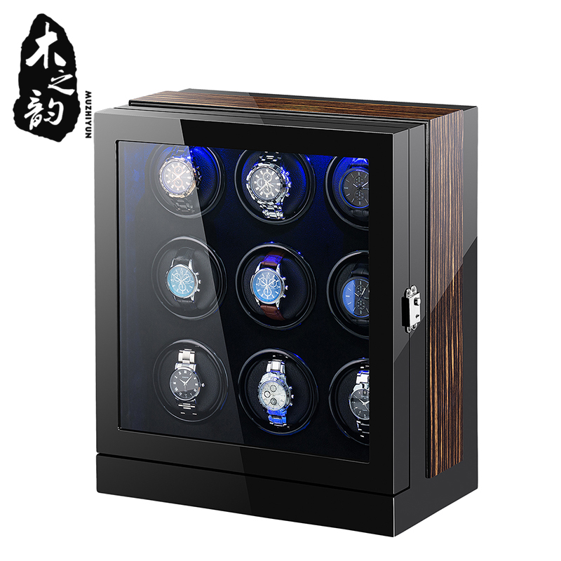 Automatic Watch Winder Box 9 Slots Mechanical Display Wooden Watch Accessories With Silent Motor And Plug