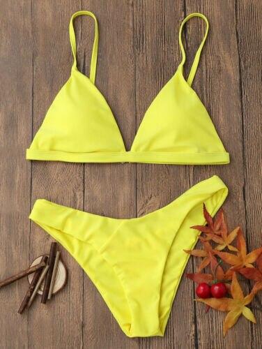 Meihuida Women Bikini Set Summer Swimwear Bandage Push-Up Padded Swimsuit Solid Bathing Wear Beachwear