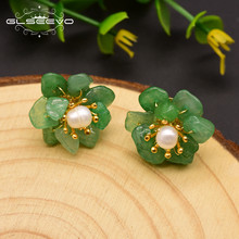 GLSEEVO Natural Jade Pearl Stud Earrings For Women Mom Birthday Day Gift 925 Sterling Silver Flower Earring Fine Jewelry GE0780(China)