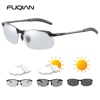FUQIAN Photochromic Sunglasses Men Women Vintage Metal Polarized Sun Glasses For Male Night Vision Driving Sunglass sunglasses driving night vision lens sun glasses male anti uva uvb for men women with case