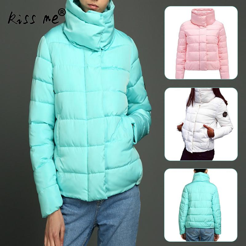 Solid Standing Collar Winter Outdoor Down Jacket Women Windproof Warm Cotton Down Coat Thermal Casual Slimming Jacket Female