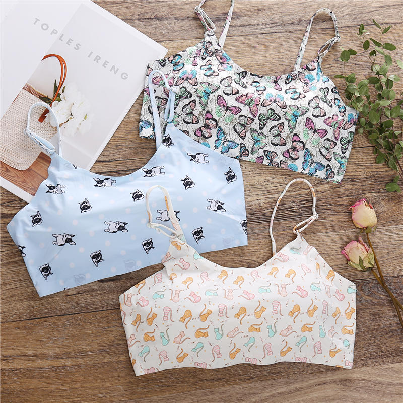 Flower Printing Sexy Women Bra With Pads Seamless Push Up Bras Bralette Underwear Wireless Brassiere For Female Lingerie Tops