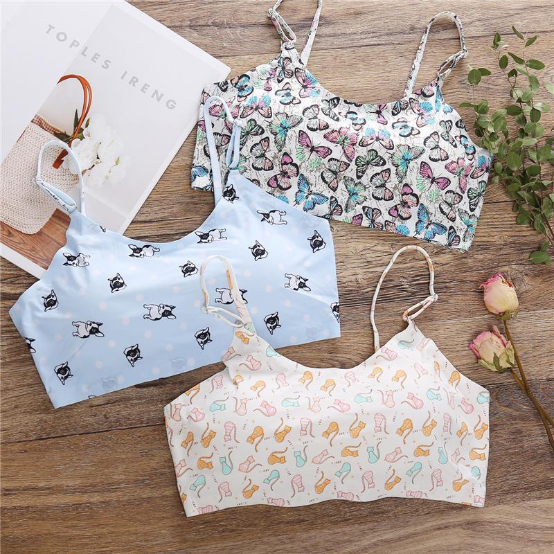 Flower Printing Sexy Women Bra With Pads Seamless Push Up Bras Bralette Underwear Wireless Brassiere For Female Lingerie Tops