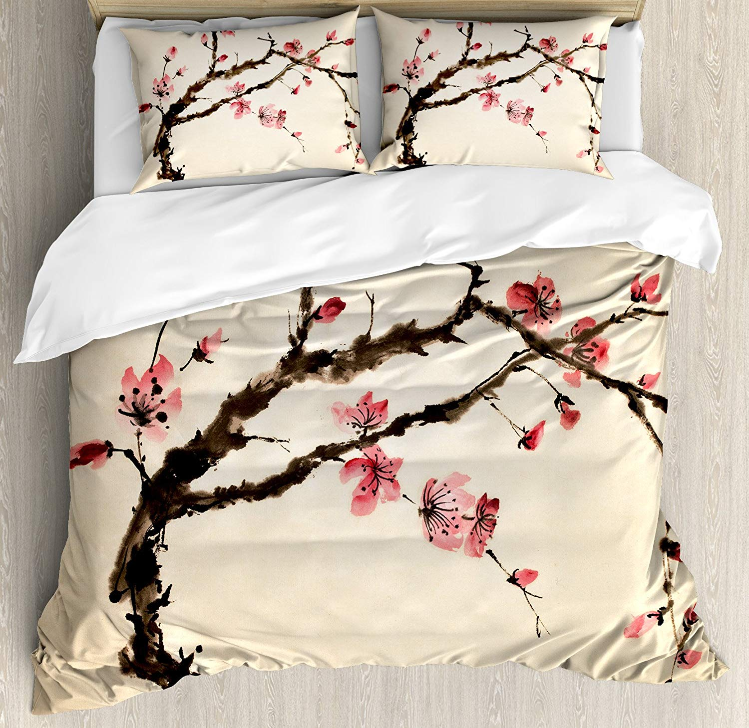 Japanese Duvet Cover Set Queen Size Traditional Chinese Paint of Figural Tree with Details Brushstroke Effects