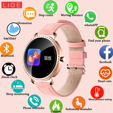 LIGE New 1.0 inch Fashion Women Smart Watch Men Waterproof Heart Rate Monitor Calories Smartwatch Women For Android IOS iPhone
