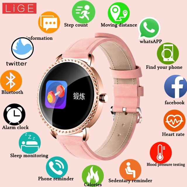 LIGE nowy 1.0 cal moda kobiety inteligentny zegarek mężczyźni wodoodporna pulsometr kalorii Smartwatch kobiety dla android ios iPhone