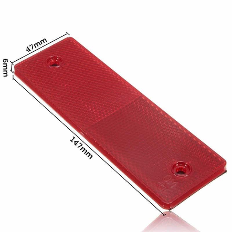 Reflectante placa de advertencia pegatinas señal de seguridad rojo/blanco 1 pieza camión motocicleta adhesivo rectángulo Reflector de plástico