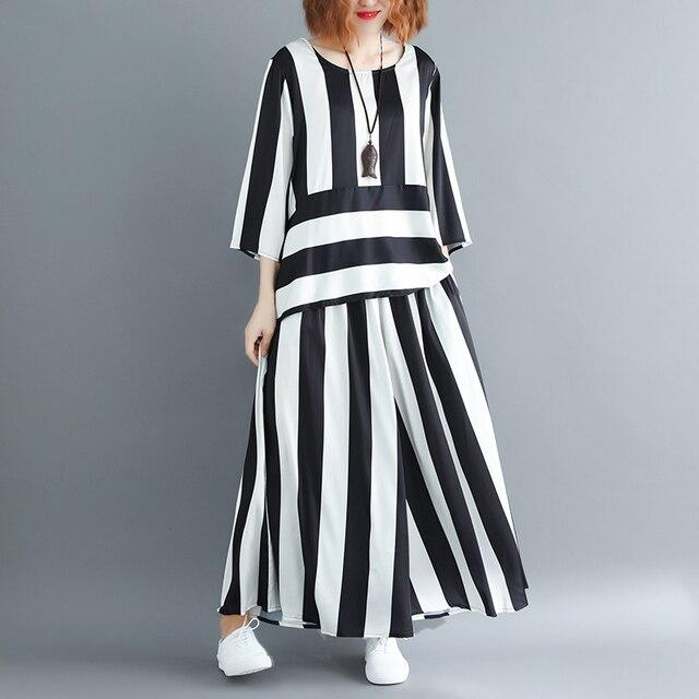 Irregular Loose Hem Stripe Shirt Elastic Suit Casual Waist Two Piece Set  2