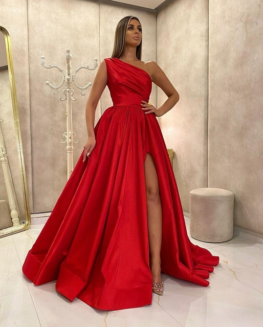 Red One Shoulder Split Prom Dress 2021 Women Formal Party Night Vestidos De Gala A-Line Satin Elegant Simple Long Evening Gowns 6