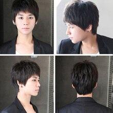 Mumupi 합성 검은 짧은 남자 가발 스트레이트 가발 100% 자연 진짜 머리 자연 머리 내열성 가발