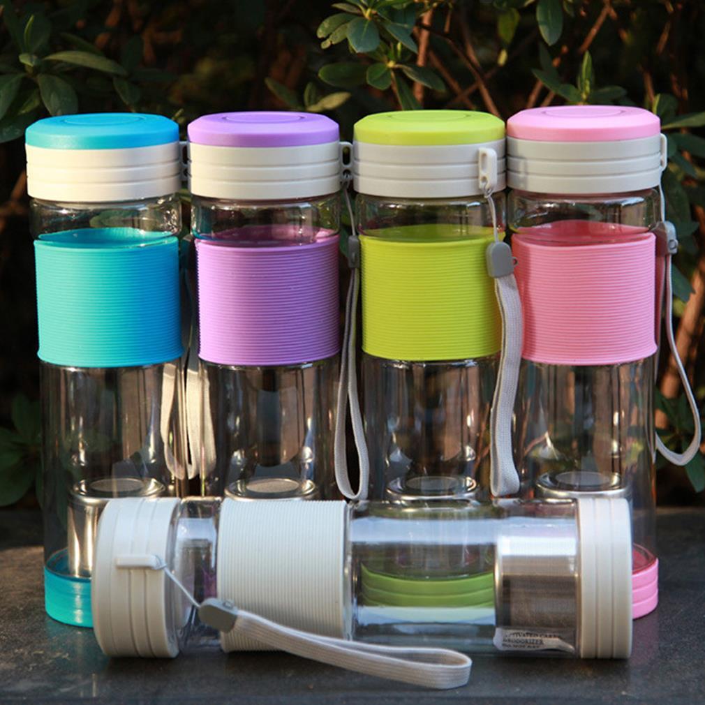 Bouteille de joint d'eau de thé de Sport de voyage portatif sain chaud avec la passoire de filtre bouteille de voyage de 550ml avec des bouteilles roses de joint 5 couleurs