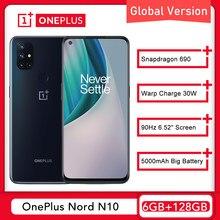 Küresel sürüm OnePlus Nord N10 5G dünya prömiyeri 6GB 128GB Snapdragon 690 Smartphone 90Hz ekran 64MP dört kamera çözgü 30T NFC