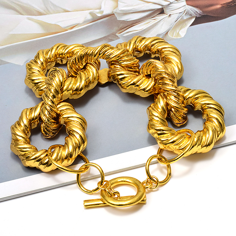 Wholesale ZA New Gold Metal Hoops Bracelet High Quality Fashion Delicate Bracelets Jewelry Accessories For Women|Chain & Link Bracelets|   - AliExpress