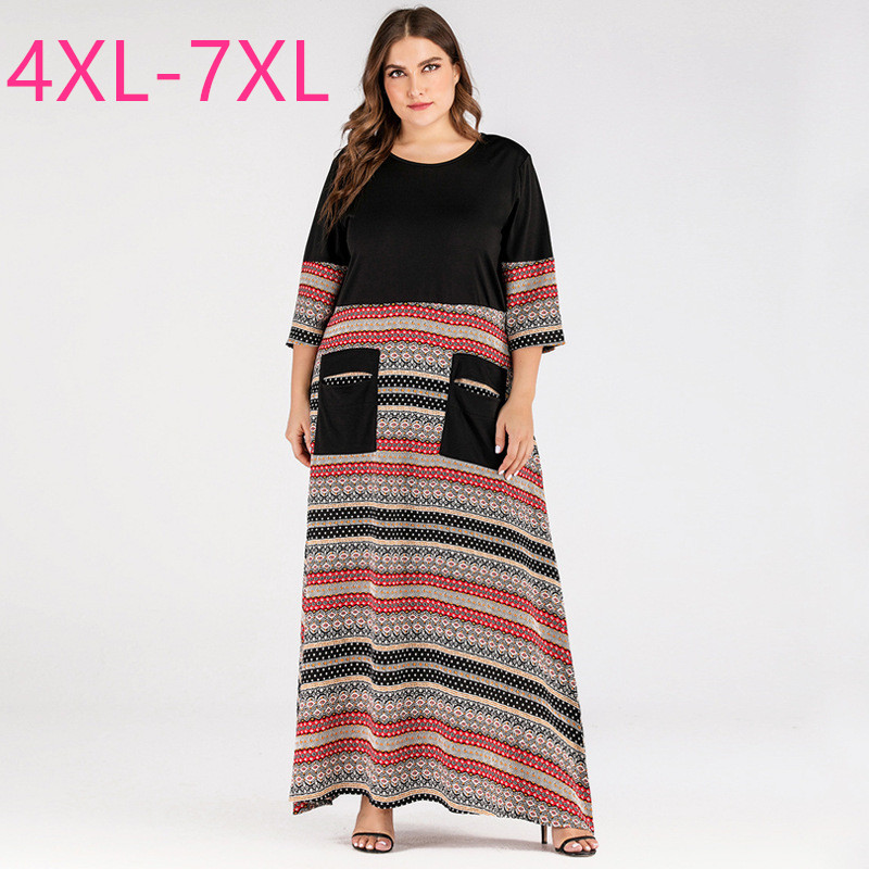 New spring autumn <font><b>plus</b></font> <font><b>size</b></font> ankle length <font><b>dress</b></font> for women loose casual straight stripe O neck pocket long <font><b>dress</b></font> 4XL 5XL 6XL <font><b>7XL</b></font> image