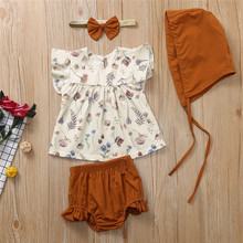 Get more info on the 2019 Fashion Toddler Kids Baby Girls Ruffled Print Tops PP Shorts Hair Band Hat Outfit Sets