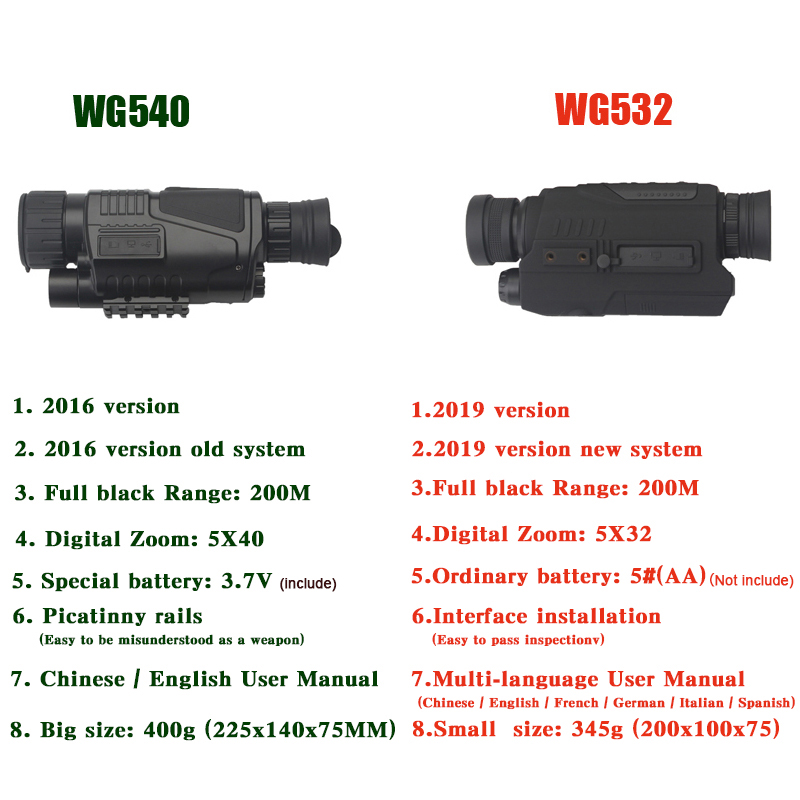 WG540 monoculaires de Vision nocturne numérique infrarouge avec carte 8G TF full dark 5X40 200M gamme optique de Vision nocturne monoculaire de chasse - 2