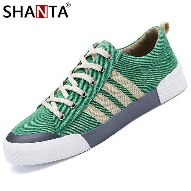 SHANTA Men Canvas Shoes 2019 Fashion Solid Color Men Vulcanized Shoes Lace-up