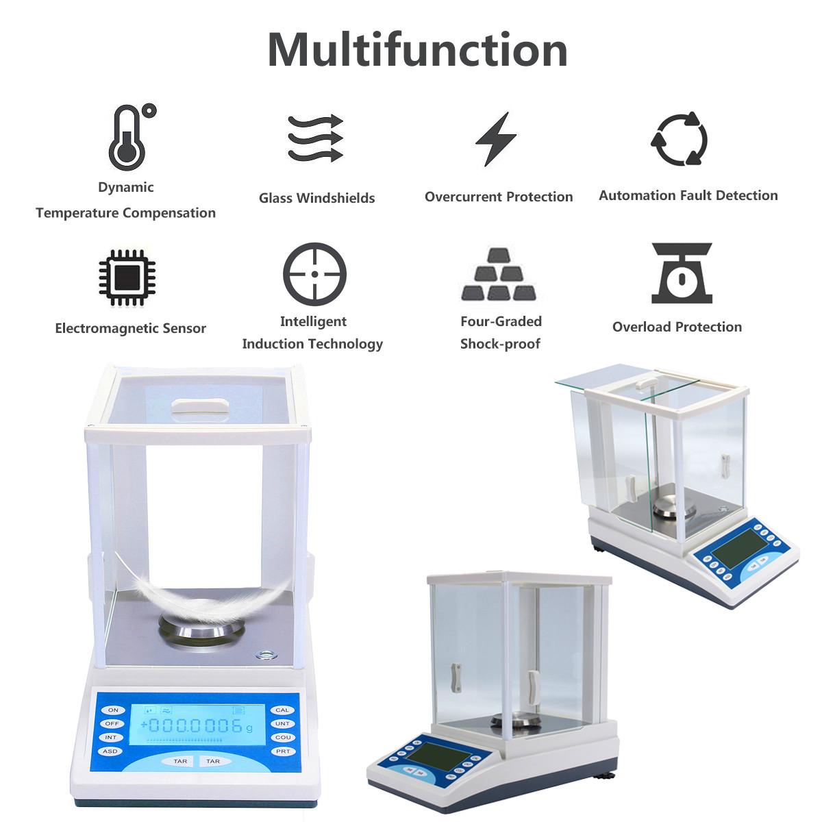 ZEAST 200g/0.1mg Ultra Precision Electronic Balance LCD Digital Electronic Scale Pan Weighing Scale For Lab Measurement Analysis - 3