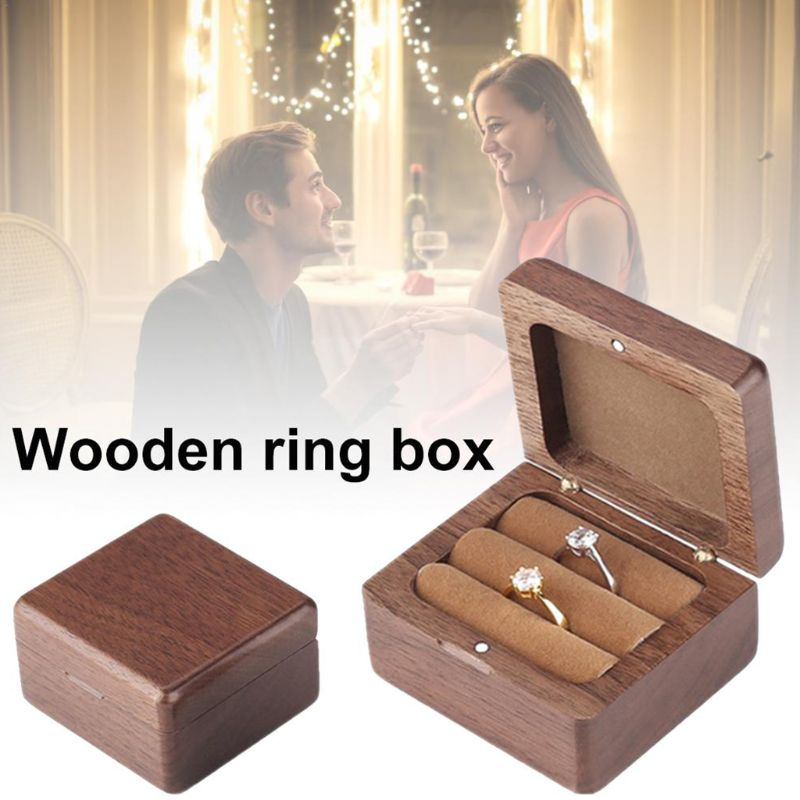 Wedding Ring Box Engagement Ring Bearer Box Wooden Double Ring Box Decorative Jewelry Box Rustic Decor Box