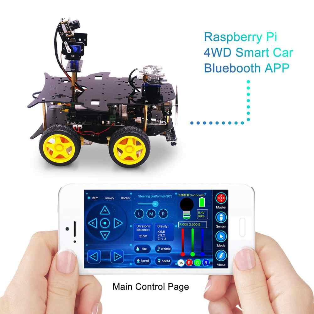 Kit de partida final para raspberry pi hd câmera carro robô programável com 4wd eletrônica diy stem brinquedo (sem: raspberry pi)