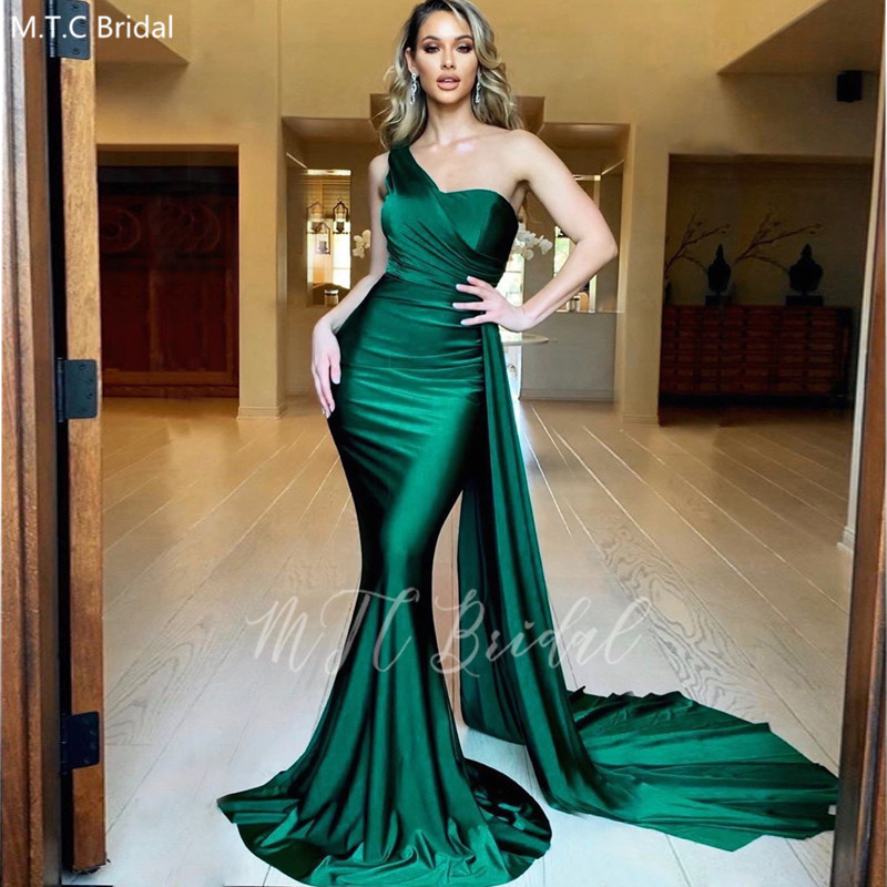 Sexy Green Mermaid Long Prom Dresses With Ribbons One Shoulder Satin Formal Dress Plus Size Wedding Party Gowns Robe De Soiree