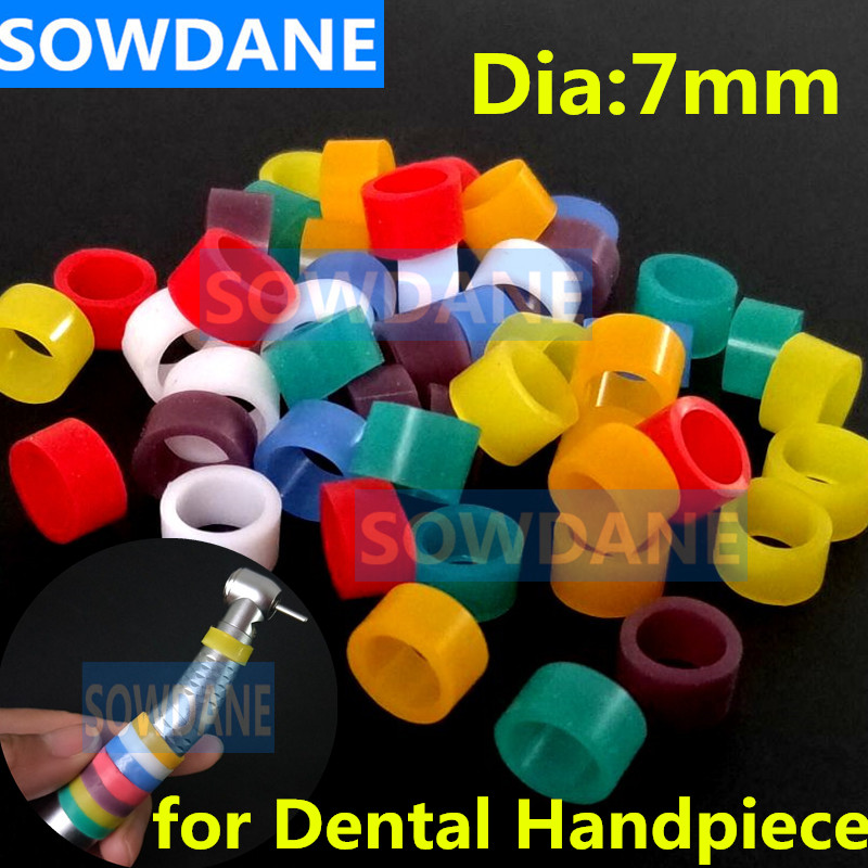 50 Pcs Multi-Color Autoclavable Dental Universal Silicone Instrument Color Code Ring Colorful Rings For Handpiece (Dia.7mm)