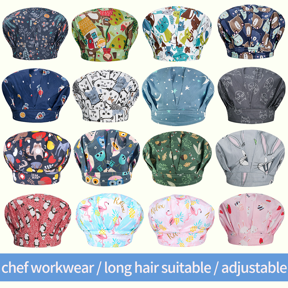 Cotton Printing Chef Hat Restaurant Hotel Workwear Chef Cap Cafe Bar Waitress Baking Caps Men And Women Breathable Kitchen Caps