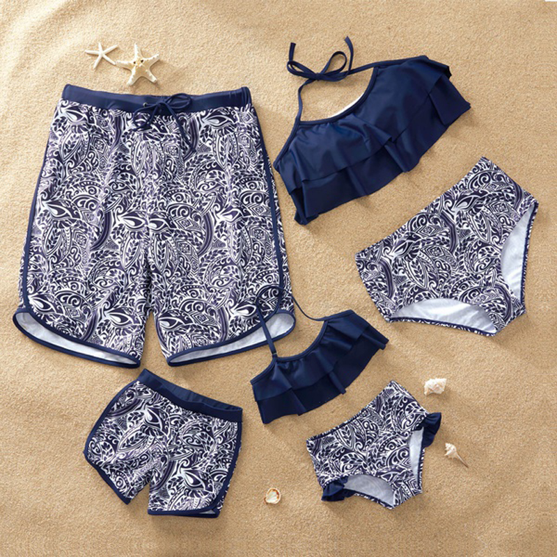 Sand Beach Swimwear Family Matching Outfits Look Mother Daughter Bikini Swimsuits Mommy and Me Clothes Father Son Swim Shorts