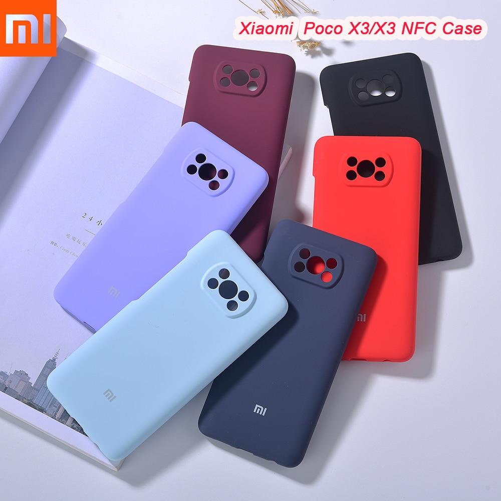 Чехол для телефона Xiaomi Poco X3, жидкий силиконовый защитный чехол, шелковистая мягкая на ощупь Противоударная оболочка для Mi Poco X3 NFC с логотипом