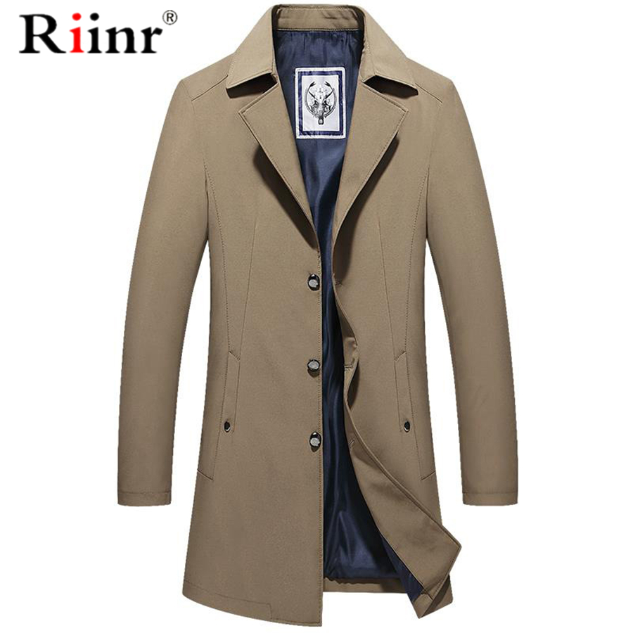 Riinr Brand Men Long Trench Coat Jacket Spring Autumn New Solid Color High Quality Men's Coats Luxurious Trench Coat Male M-4XL