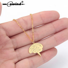 Cxwind Creative Anatomical Brain Necklace Stainless Steel Cerebrum Brain Pendant Necklace for Man Woman Hip Hop Choker Bijoux(China)