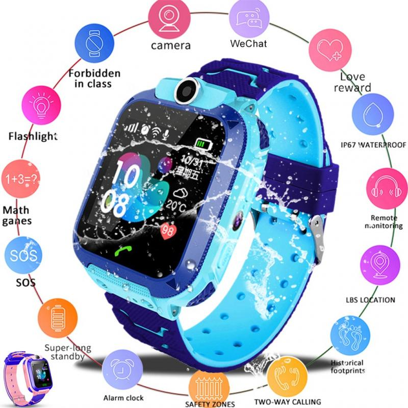 Q12Children Smart Watch Waterproof Kids Phone Call Wrist Watch Baby SOS Tracker Antil-lost Smart Watch Compatible IOS & Android