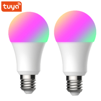 2 uds Tuya vida inteligente Wifi inteligente bombilla de luz E27 Led lámpara 9W 900lm RGB + W + C Dimmer trabaja con Alexa Google Mini Smart Home|Módulos de domótica| |  -