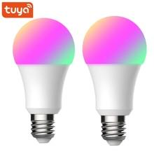 2PCS Tuya 똑똑한 생활 Wifi 똑똑한 전구 E27 Led 램프 9W 900lm RGB + W + C 조광기는 Alexa Google 가정 소형 똑똑한 가정으로 작동합니다