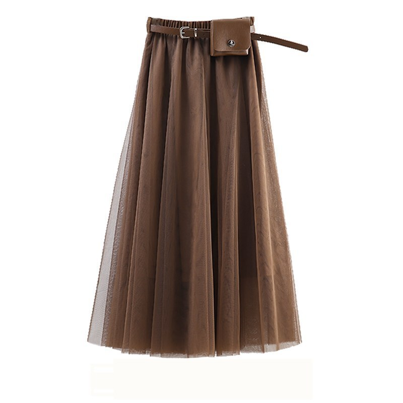 LANMREM 2020 Spring Summer Fashion New Solid Color Mesh Half-body Skirt With Waist Pocket Tide All-match Bottoms YJ118