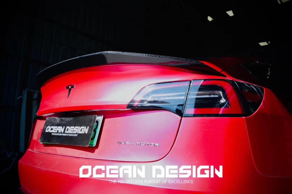 Pour Tesla modèle 3 2017 2020 arrière fibre de carbone arrière botte aile Spoiler arrière toit aileron aile coffre lèvre botte couverture voiture style - 6