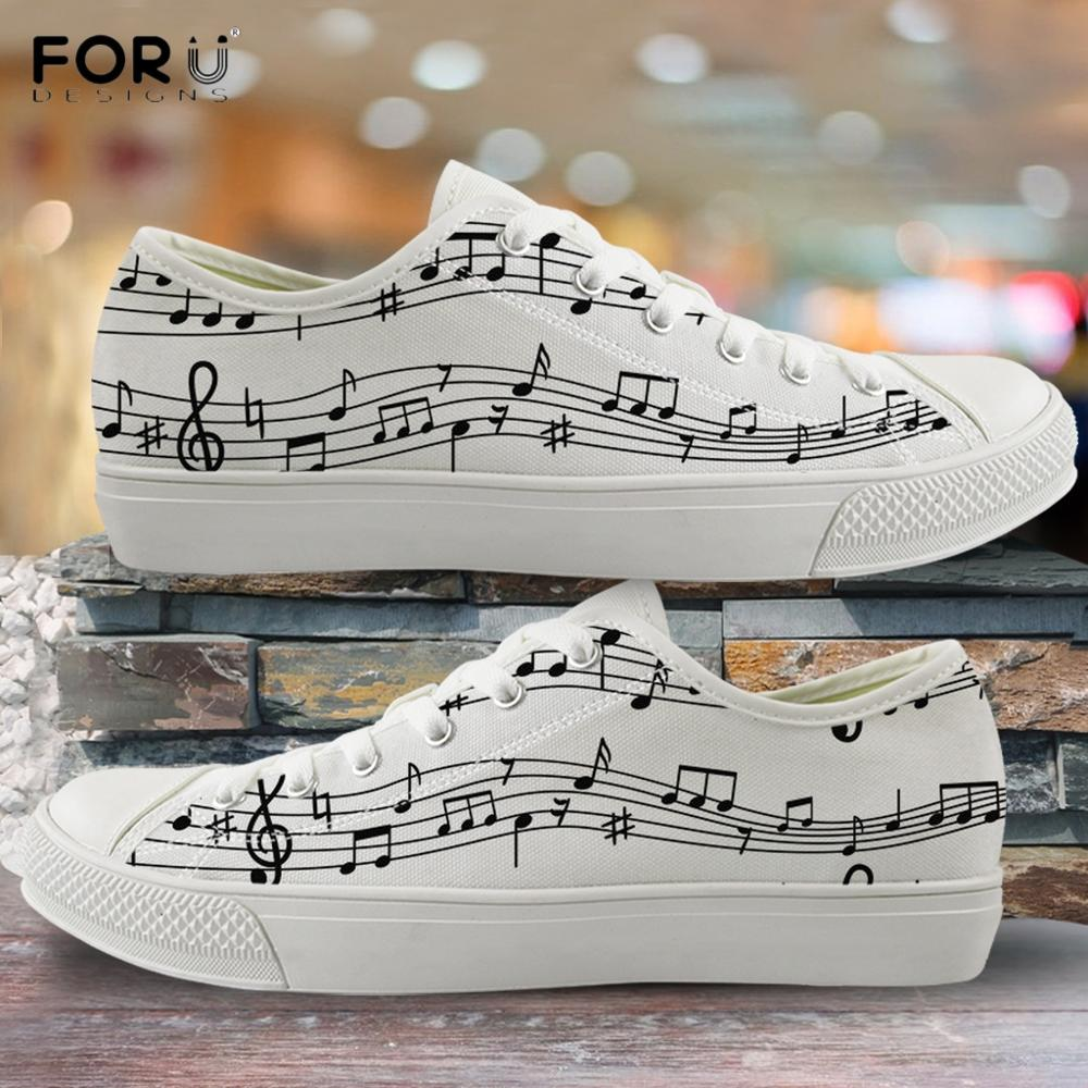 FORUDESIGNS Fashion Music Notes Print Woman Low Top Canvas Shoes Breathable Lace Up Sneakers Girl Lady Casual Vulcanized Shoes