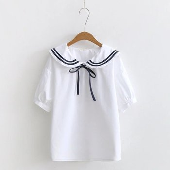 KYQIAO, blusa vintage para mujer, verano, estilo japonés, Manga corta puff, Camisa lisa, blusas de moda para mujer, 2020, ropa para mujer