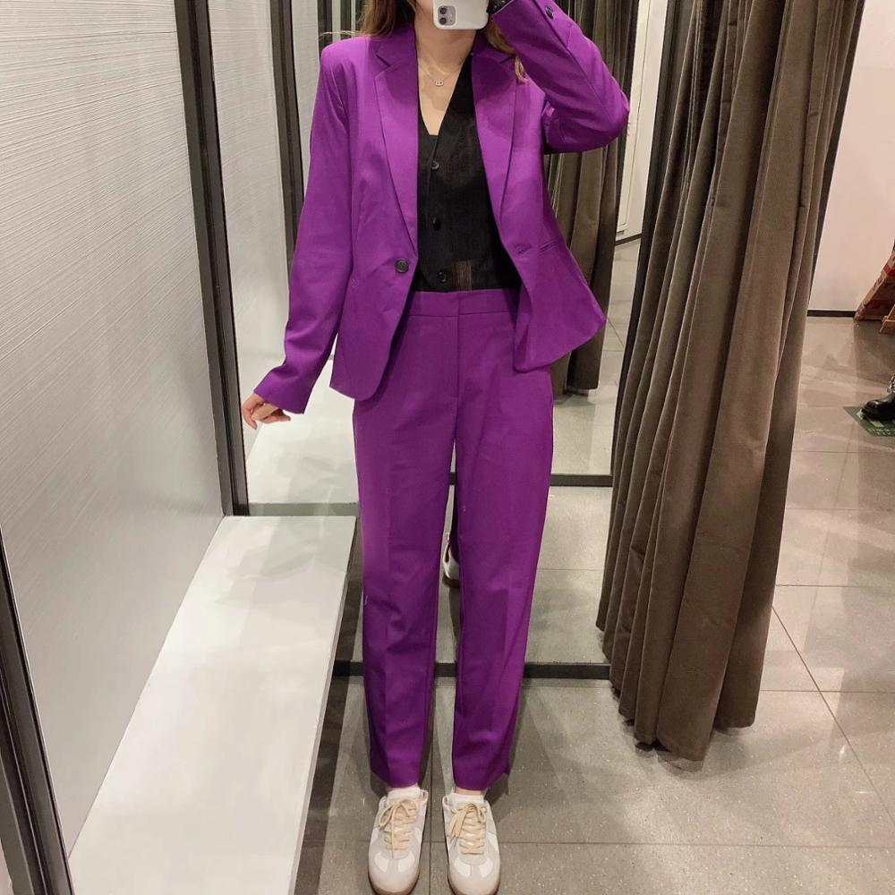 XNWMNZ Za women 2020 basic Blazer with lapel collar long sleeves jetted pockets back vent single-button Female Ladies Retro tops